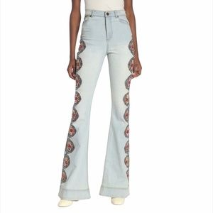 Alice + Olivia Kayleigh Embroidered Bell Bottoms